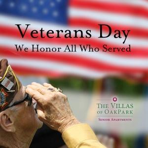 happy veterans day 2016, villas of oak park senior living, oak park heights mn