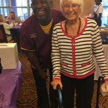 Alzheimer's Fundraiser-Villas of Oak Park Senior Living-Oak Park staff member with tenant