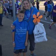 Our Team at 2017 Alzheimer's Walk-Villas of Oak Park-mother and son posing together